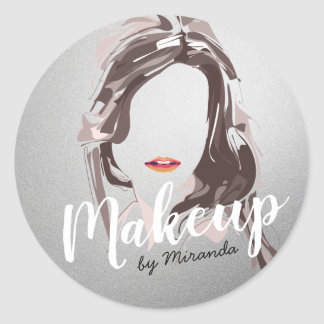 Modern Makeup Artist and Hair Stylist Beauty Salon Classic Round Sticker