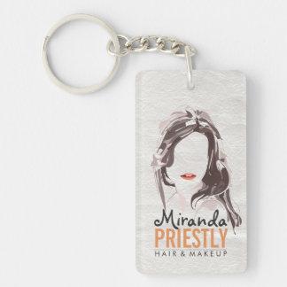 Modern Makeup Artist and Hair Stylist Beauty Salon Key Ring
