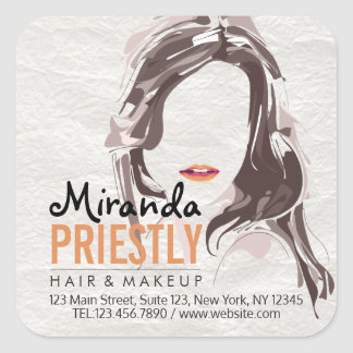 Modern Makeup Artist and Hair Stylist Beauty Salon Square Sticker