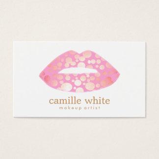 Modern Makeup Artist Pink and Gold Lips Logo