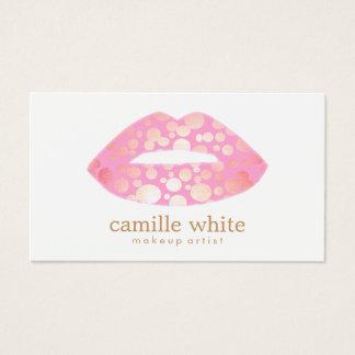 Modern Makeup Artist Pink and Gold Lips Logo Business Card