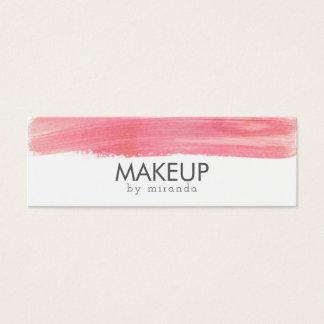 modern makeup artist watercolor pink minimalist mini business card