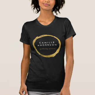 Modern Makeup Artistry with Gold Circle on Black T-Shirt
