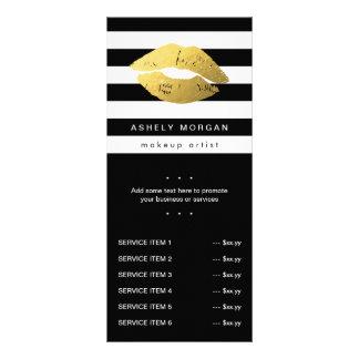 Modern Makeup Gold Lips - Chic Black White Stripes Full Colour Rack Card