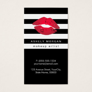 Modern Makeup Red Lips - Chic Black White Stripes