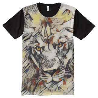 Modern Male Lion Wildlife Abstract Portrait All-Over Print T-Shirt