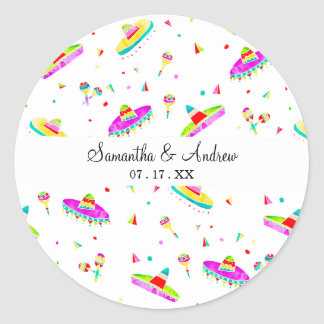Modern maracas sombreros watercolor illustration classic round sticker