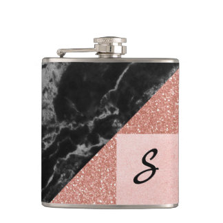 Modern Marble and Glitter Look Flask