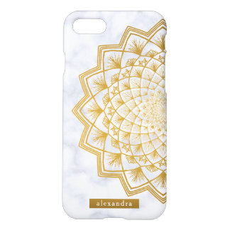 Modern Marble and Gold Mandala Lace Pattern iPhone 8/7 Case
