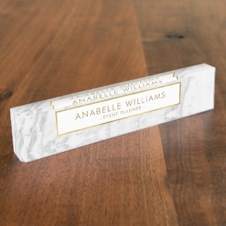 Modern Marble and Gold Texture Name Plate