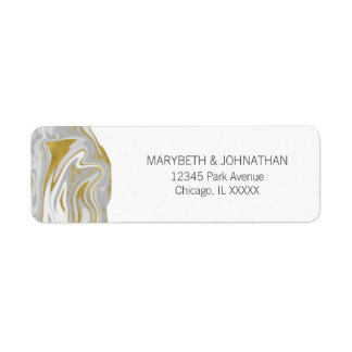 Modern Marble and Gold Wedding Address Label
