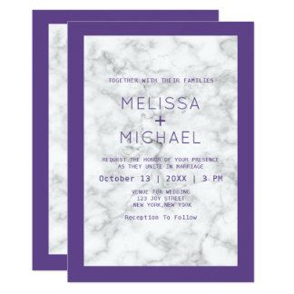 Modern Marble And Purple Wedding Card