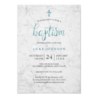 Modern Marble Blue Baptism Invitation