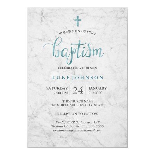 Modern marble blue baptism invitation zazzle modern marble blue baptism invitation stopboris Gallery