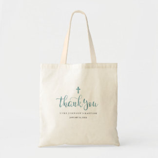Modern Marble Blue Thank You Baptism Tote Bag