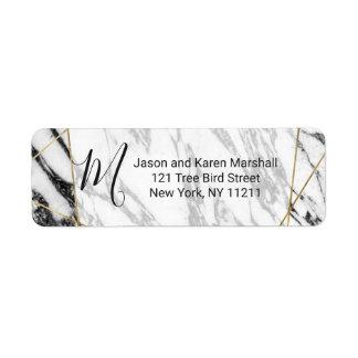 Modern Marble Gold Geometric Address Return Address Label