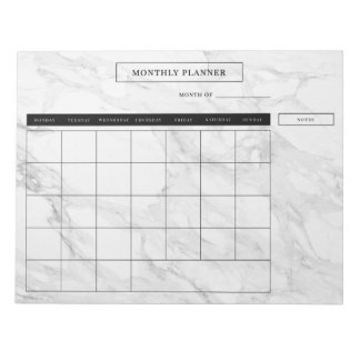 Modern marble monthly planner notepad