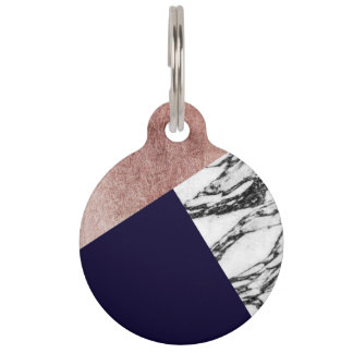 Modern Marble Rose Gold and Navy Blue Tricut Geo Pet ID Tag