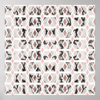 Modern Marble Rose Gold Blush Pink Geometric Poster