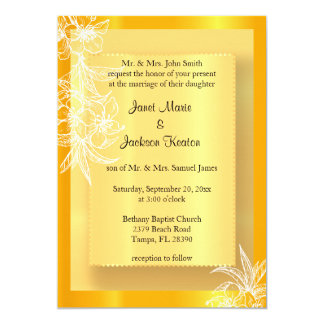 Modern Marigold Yellow & White Floral Stamp 13 Cm X 18 Cm Invitation Card