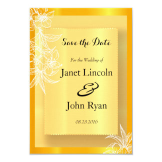 Modern Marigold Yellow & White Floral Stamp 9 Cm X 13 Cm Invitation Card