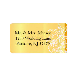 Modern Marigold Yellow & White Floral Stamp Address Label