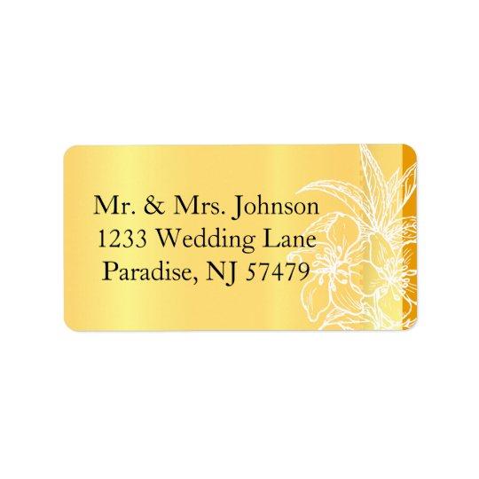 Modern Marigold Yellow & White Floral Stamp Address Label