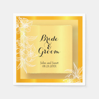 Modern Marigold Yellow & White Floral Stamp Disposable Serviette