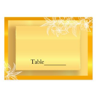 Modern Marigold Yellow & White Floral Stamp Pack Of Chubby Business Cards