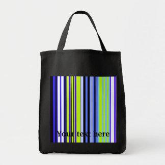 Modern marine blue green and white stripes tote bags