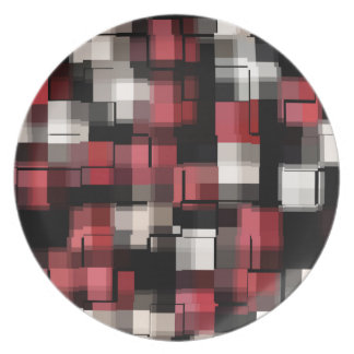 Modern Maroon Black White Abstract Pattern Plate