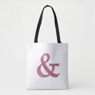 Modern Maroon Textured Ampersand And Symbol Tote Bag