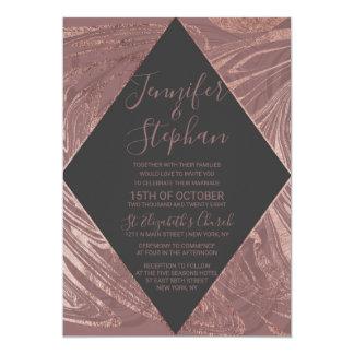 Modern Marsala Rose Gold Marble Swirl Wedding Card