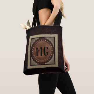Modern Masculine Brown Leather Monogram Tote Bag