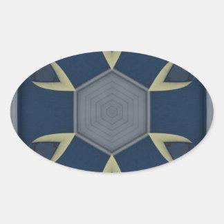 Modern Masculine Geometrical Symmetry Pattern Oval Sticker
