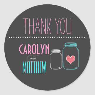 Modern Masonjar | Pink | Aqua Thank You Sticker