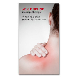 Modern Massage Therapist Woman's Back Magnetic Business Cards