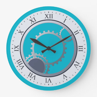 Modern Mechanical Gears on Any Color Large Clock