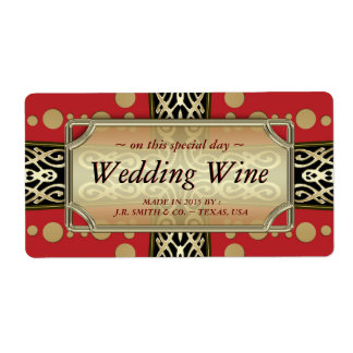 Modern Medieval Wedding  Red Gold WineLabels Shipping Label