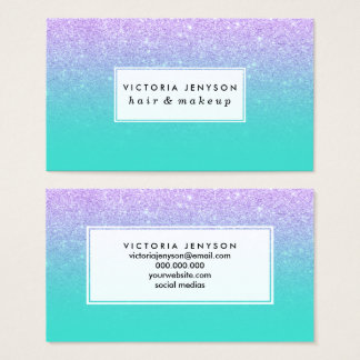 Modern mermaid lavender glitter turquoise ombre business card