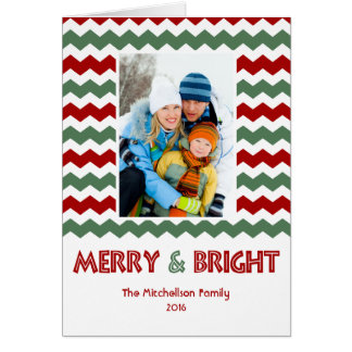 Modern MERRY BRIGHT Chevron Holiday Card