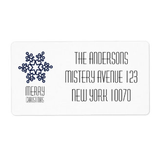 Modern Merry Christmas Blue Snowflake Shipping Label