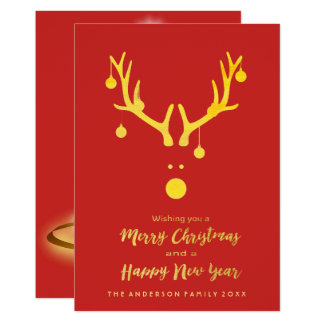 Modern Merry Christmas card reindeer gold red