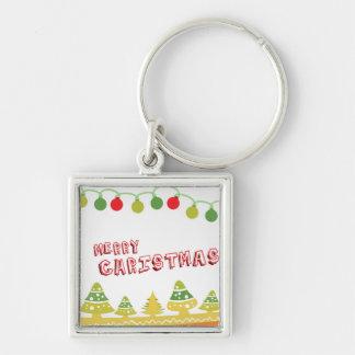 Modern Merry Christmas Design Key Ring