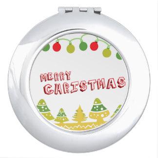 Modern Merry Christmas Design Makeup Mirror