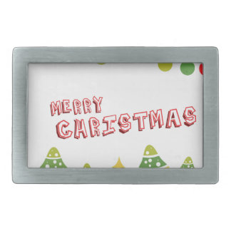 Modern Merry Christmas Design Rectangular Belt Buckles