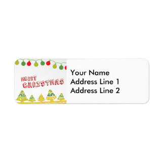 Modern Merry Christmas Design Return Address Label