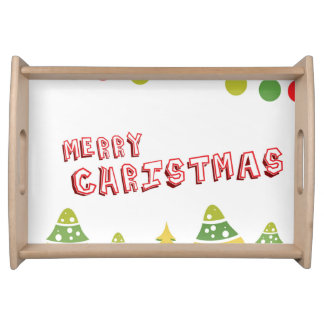 Modern Merry Christmas Design Serving Tray