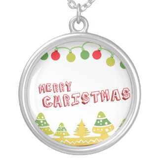 Modern Merry Christmas Design Silver Plated Necklace