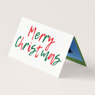 Modern Merry Christmas Green Red Script Collage Card